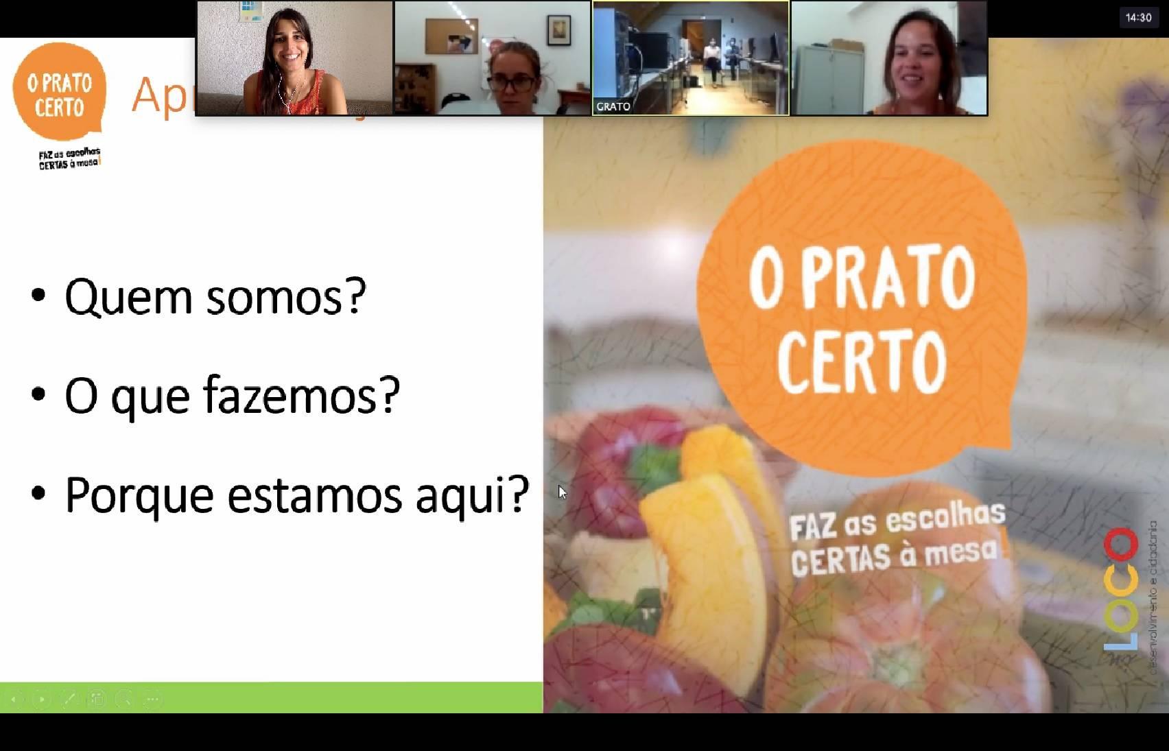 O Prato Certo adapta metodologias e prossegue com sessões onlinede sensibilização e educação alimentar
