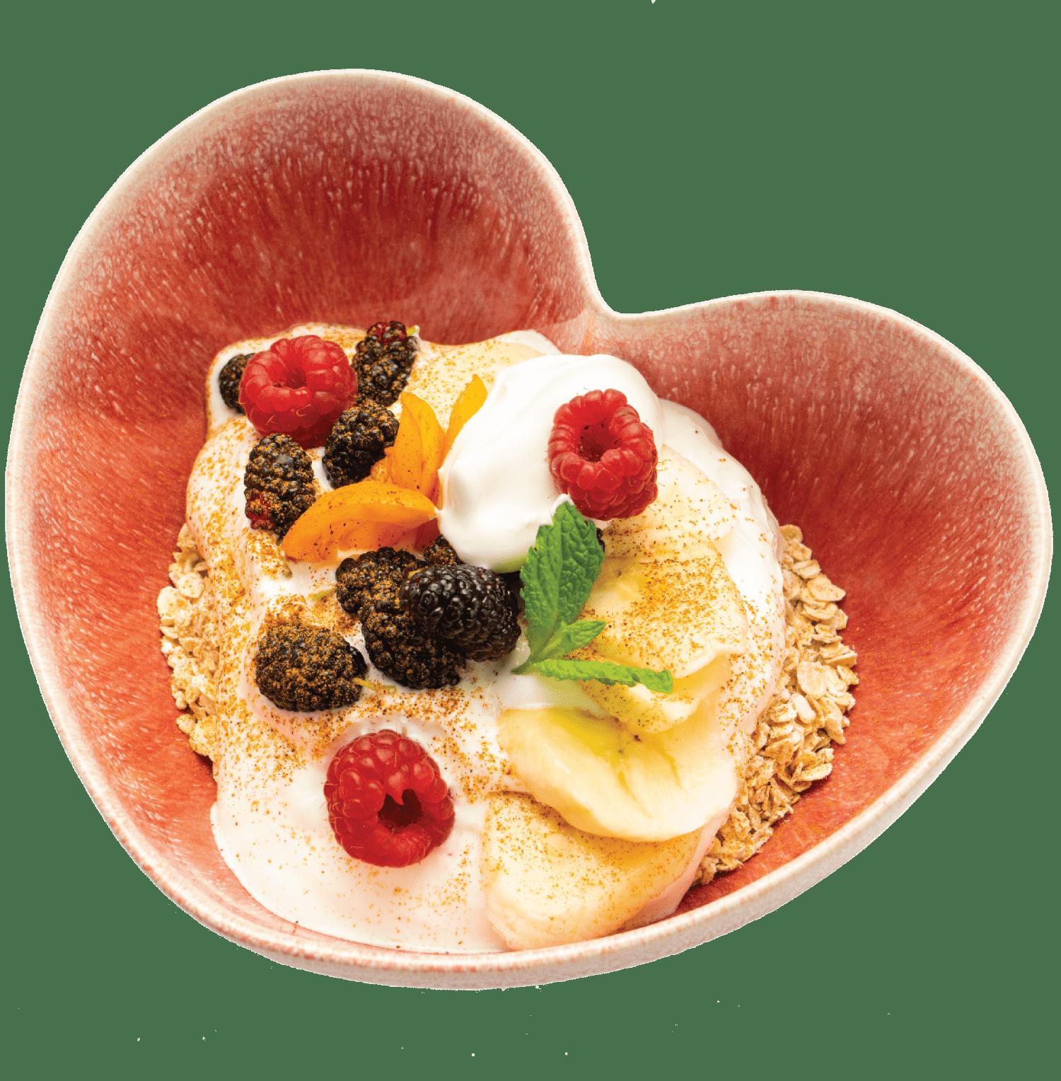Iogurte caseiro com flocos de aveia e fruta da época